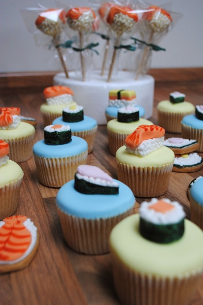 Sushi? Cake? Sushi cakes! Cupcakes, cake pops and biscuits in a matching theme (doesn't contain fish).