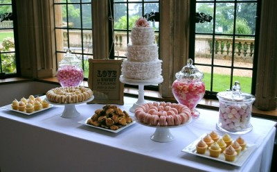 Ruffle wedding cake and dessert table | Baby Cakes